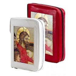 157P - Custodia per liturgia 4 volumi in pelle chiusura con bottone