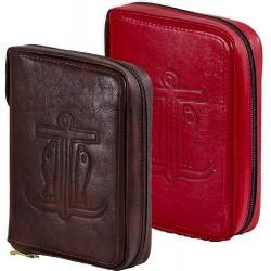 164C - Custodia per liturgia 4 volumi in pelle chiusura con bottone