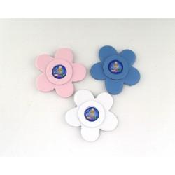 Fiore in pelle con calamita e immagine resinata per Comunione e Cresima