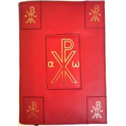 """Custodia in pelle per nuovo Messale III Edizione Vaticana 2020 con """"Monogramma di Cristo"""""""