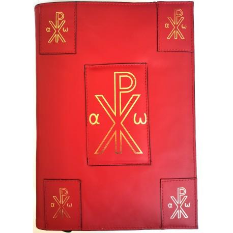 """Custodia in pelle per nuovo Messale III Edizione Vaticana 2020 con """"Monogramma di Cristo"""" - 2200"""