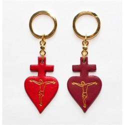 0801 - Portachiavi in pelle - croce cuore
