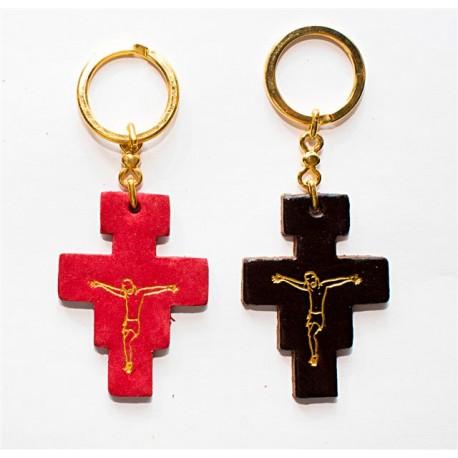 0308 - Portachiave in cuoio Croce S. Damiano stampata a caldo