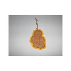 AN01C - Angioletto con candelina in cuoio colore naturale con stampa a caldo