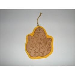 Angioletto con candelina In cuoio colore naturale con stampa a caldo - AN06C