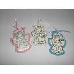 AN02P - Angioletto in preghiera in vera pelle bianca con stampa a caldo in argento