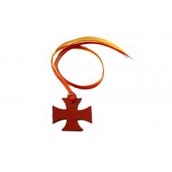 Segnalibro in cuoio croce di Malta con 4 nastrini colorati