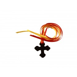 Segnalibro in cuoio croce Trilobata con 4 nastrini colorati - 0452