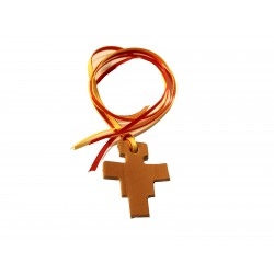 Segnalibro in cuoio croce di San Damiano con 4 nastrini colorati - 0453