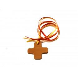 Segnalibro in cuoio croce quadrata con 4 nastrini colorati - 0454