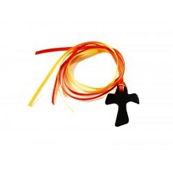 Segnalibro in cuoio croce Tau con 4 nastrini colorati - 0455