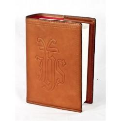 77L5 - Custodia per bibbia Dehoniana chiusura zip in pelle vegetale con bordi e immagini stampate in rilievo