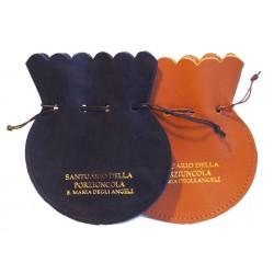 0850 - Porta Rosario in pelle a sacchetto con cordoncino in tinta