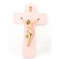Croce in pelle con Cristo da cm 10 in vetroresina decorato a mano - CR20