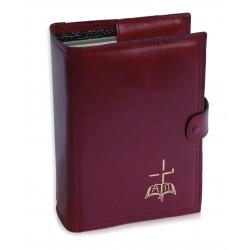 7261 - Custodia per Bibbia Gerusalemme in vera pelle lavorazione extra doppia cucitura chiusura bottone