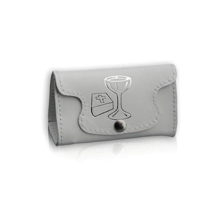 0060 - Portarosario in pelle bauletto stampa calice libro