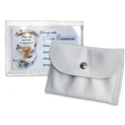 0400C - Portarosario in pelle con tasca trasparente per bigliettino personalizzabile Prima Comunione