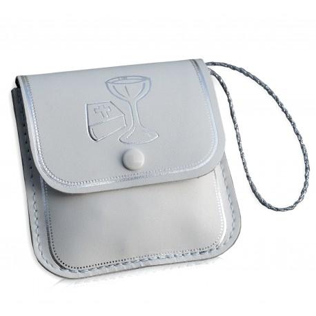 0460 - Portarosario in pelle con bottoncino immagine calice con libro stampa bordi ed immagini argento