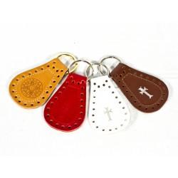 0283 - Portachiave ovale in cuoio con bordi traforati