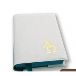 """Copri Evangelario in pelle bianca e stampe """"Alfa e Omega"""" in oro - 7901"""
