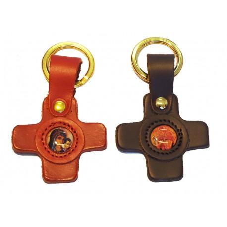 Portachiave in cuoio a forma di croce
