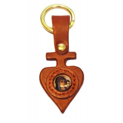 Portachiave in cuoio a forma di croce e cuore