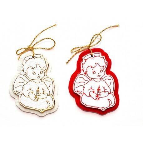 AN01N - Angioletto di Natale con candela in pelle bianca e feltro rosso o bianco