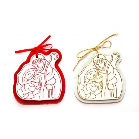 CP400 - Sacra famiglia di Natale in pelle bianca con feltro bianco o rosso