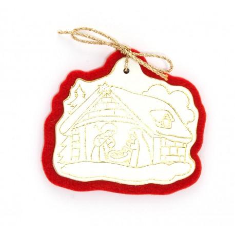 CP100 - Casetta santa di Betlemme in pelle bianca e feltro rosso
