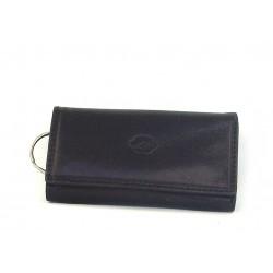 Portachiavi - portafoglio con ganci e anello in pelle bovina tamponata a mano - 650017/3T
