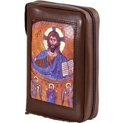 159P - Custodia per liturgia 4 volumi in vera pelle chiusura con zip