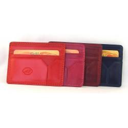 Porta carte di credito in pelle bovina tamponata a mano - 658932/3T