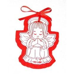 AN02N - Angioletto di Natale in pelle bianca e feltro rosso